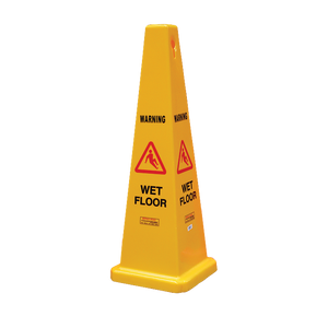 "FILTA SAFETY CONE - ""WET FLOOR"" Yellow 900mm - Sold by Single Unit in multiples of 1 Single Unit"