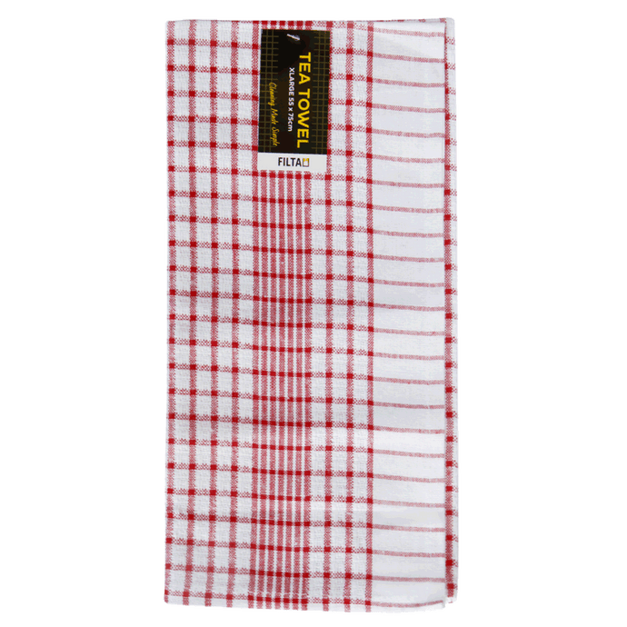 FILTA XL COTTON TEA TOWEL RED (55CM X 75CM)