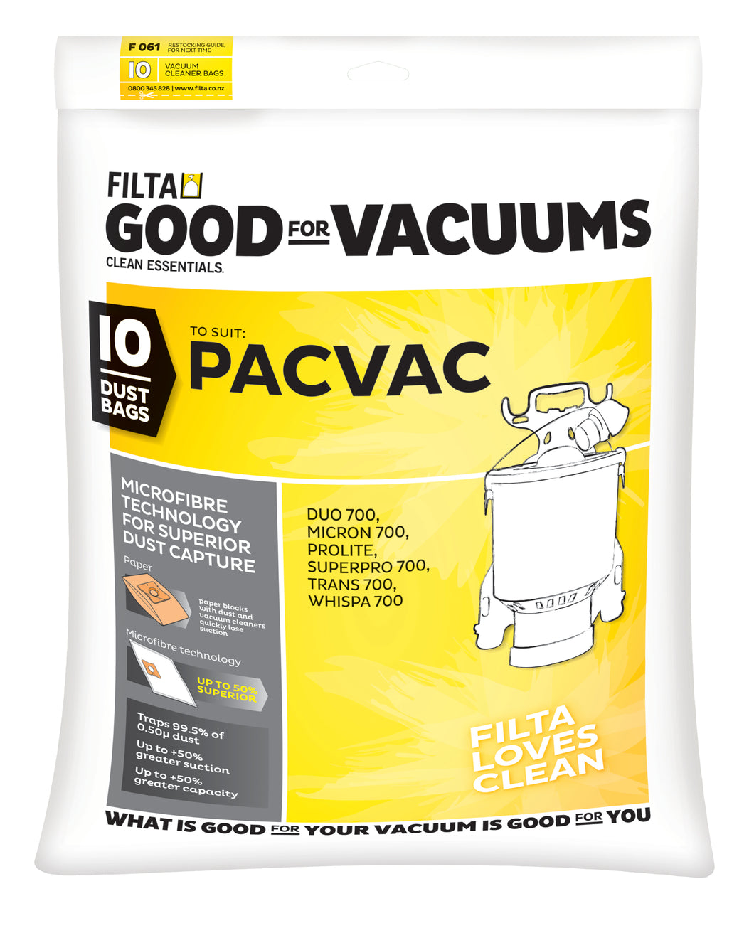 FILTA PACVAC MICROFIBRE VACUUM CLEANER BAGS 10 Pack - Sold by Single Unit in multiples of 1 Single Unit (F061/C061)