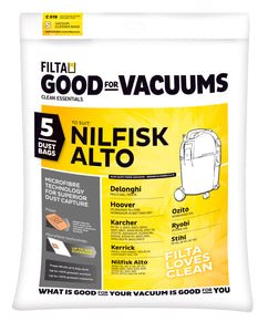 FILTA NILFISK ALTO MICROFIBRE VACUUM CLEANER BAGS 5 Pack - Sold by Single Unit in multiples of 1 Single Unit (C019)