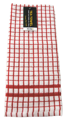 FILTA COTTON TEA TOWEL TERRY RED (45CM X 70CM)