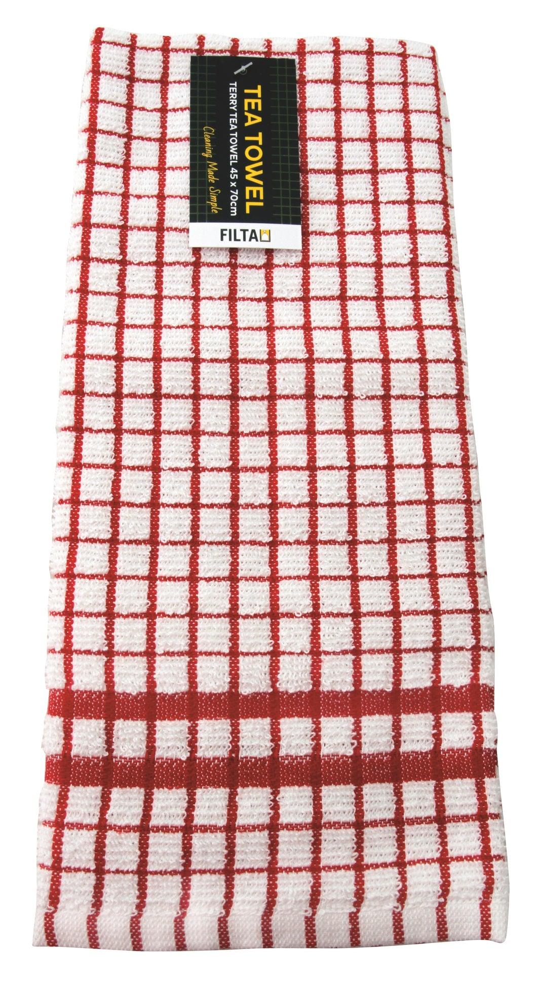FILTA COTTON TEA TOWEL TERRY Red - Sold by Single Unit in multiples of 10 Units