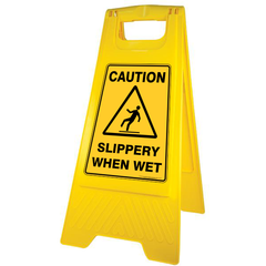 "GALA A-FRAME SAFETY SIGN - ""SLIPPERY WHEN WET"" YELLOW"