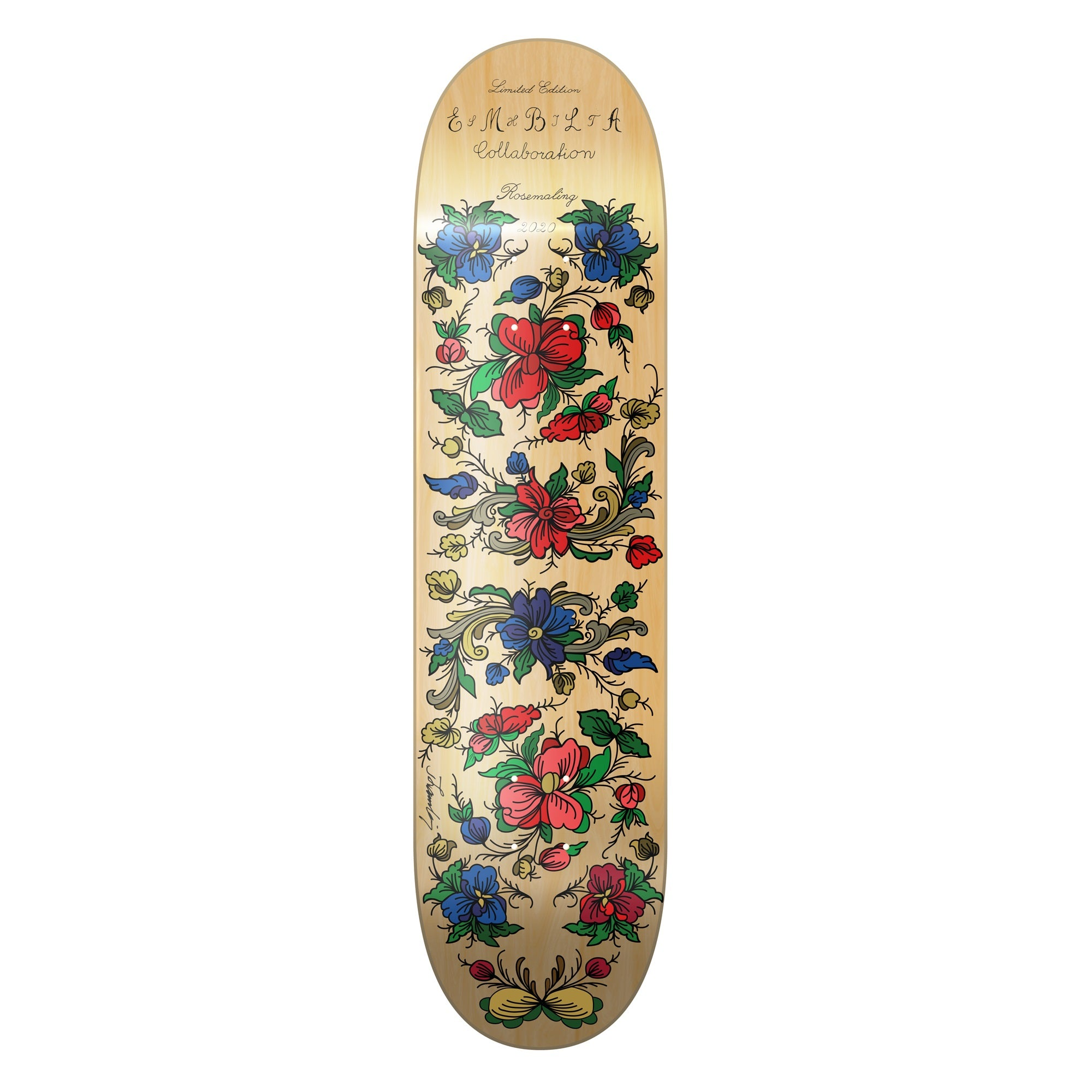 Shit Skateboard Company and  Embla Bunader Skateboard Rosemaling Design