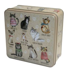 Embossed Cat Themed Gift Tin with Assorted Cookies
