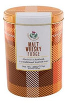 Whisky fudge in tartan tin