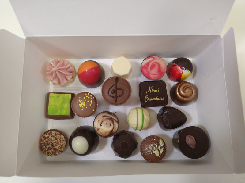 Nina's 18 piece box handmade chocolates\
