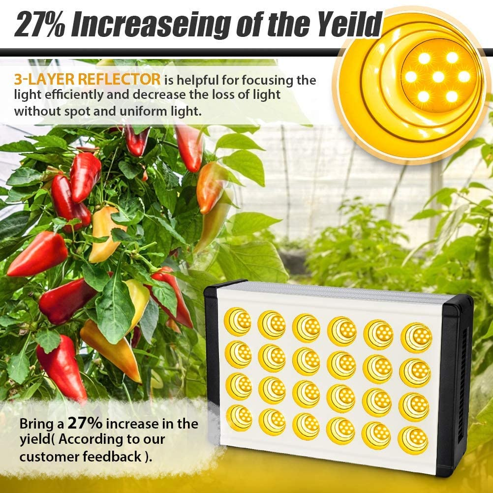 1000W LED Grow Light, Kolem Full Spectrum Grow Light for Indoor Plants, Daisy Chain, Dimmable Knob, 168 LEDs Growing Light, Sunlike Plant Grow Light Veg Seedings and Flower