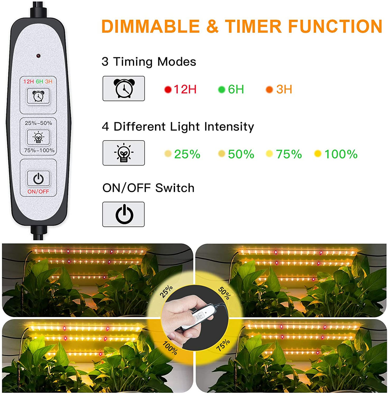 50W LED Plant Grow Light Strips,5 pcs 16 Inches Full Spectrum Plant Lights for Indoor Plants with Auto ON/Off 3/6/12H Timer, 4 Dimmable Levels,Grow Lights for Seed Starting,Hydroponics
