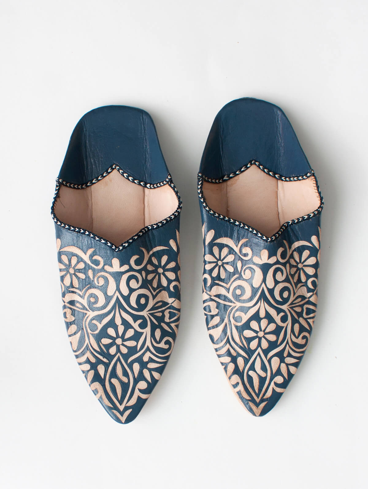 Decorative Babouche Slippers, Indigo