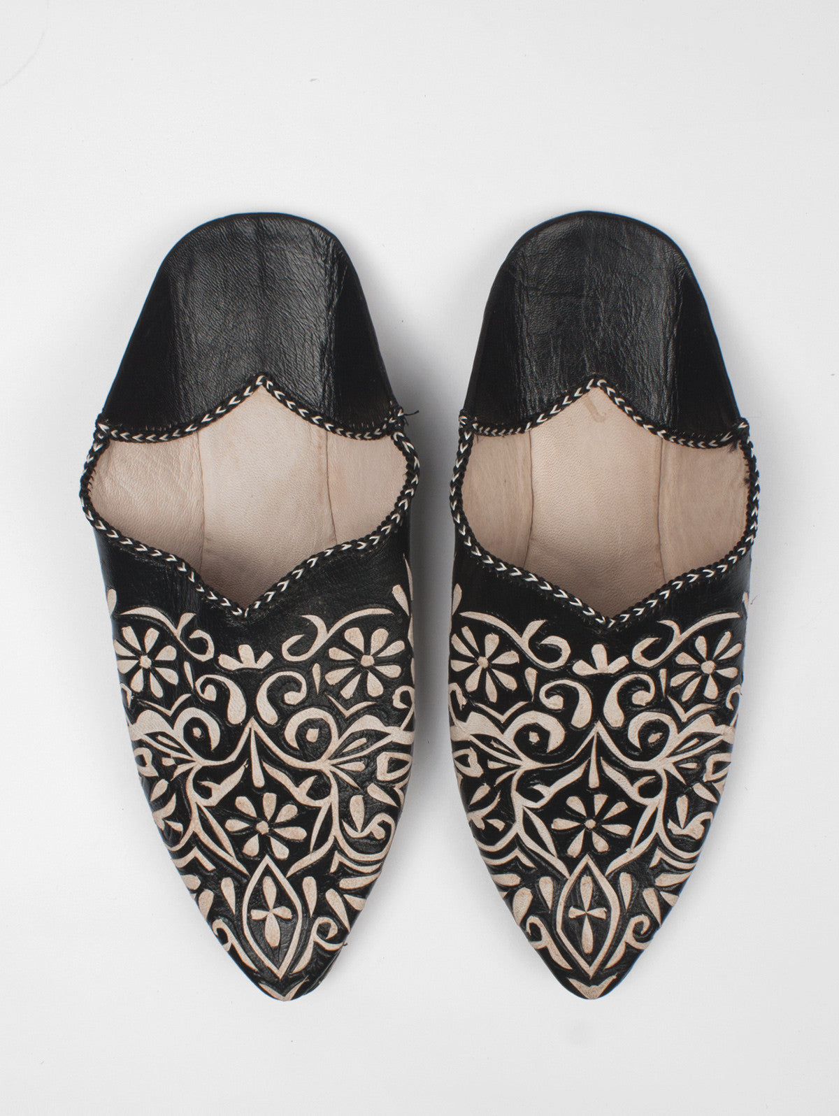 Moroccan Decorative Babouche Slippers, Black (Pack of 2)