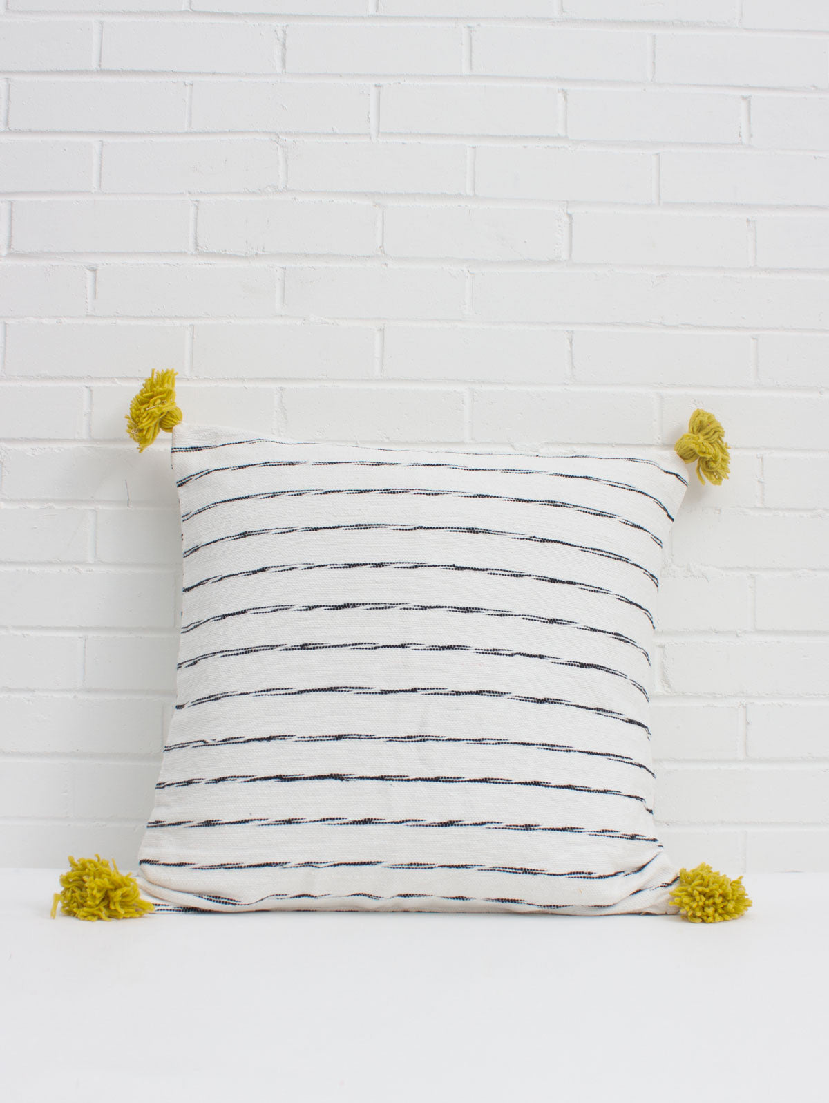 White Cotton Scribble Stripe Square Cushions, Chartreuse