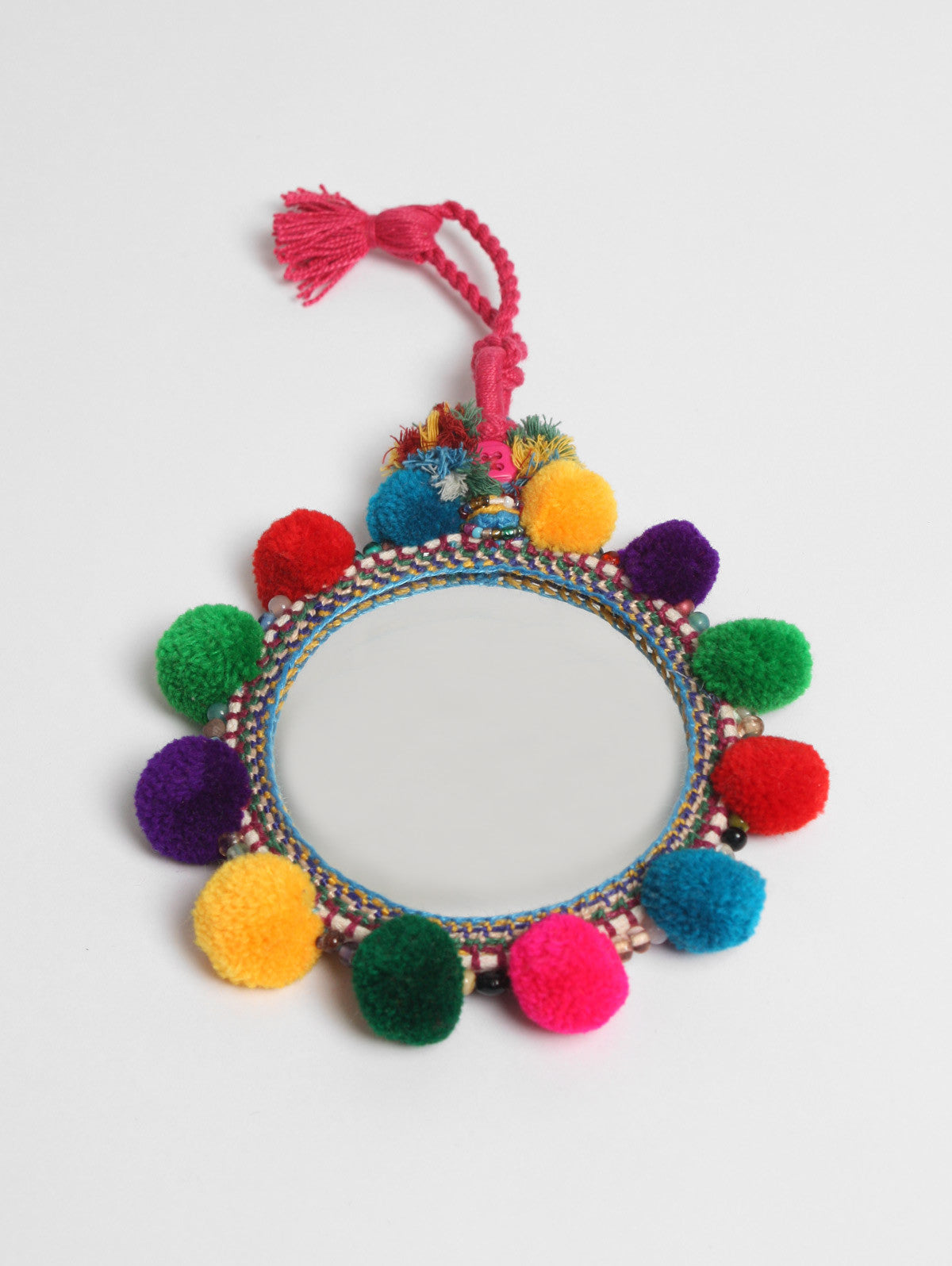 Pom Pom Mirrors Multi, Assorted Sizes (Pack of 2)