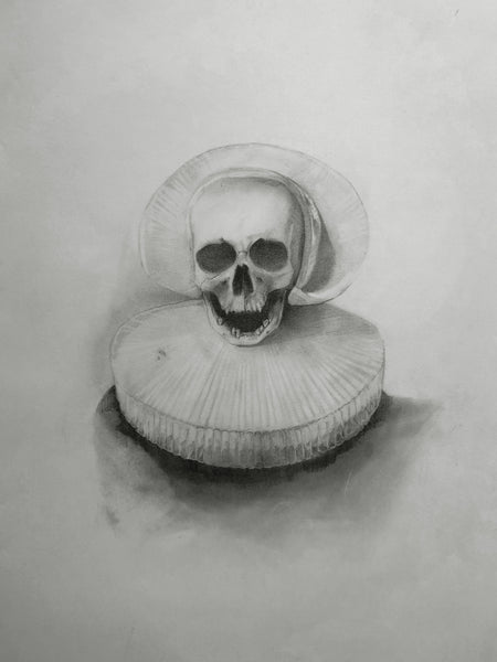 Indy Alexander, Mother, Original representational drawing of a skull with victorian ruff on a white background, this drawing is framed with a black mat in a black frame with painted gold accents on the top and bottom