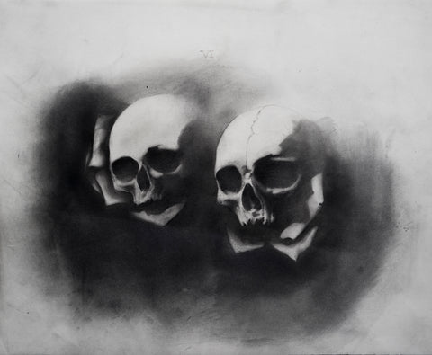 Indy Alexander, The Lovers, tarot card, skulls with roses, graphite on paper