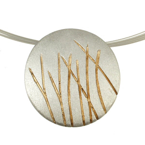 Textured Reeds Oval Pendant Necklace