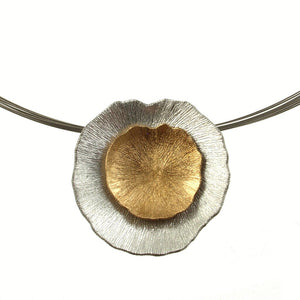 Layered Metal Flower Pendant Necklace