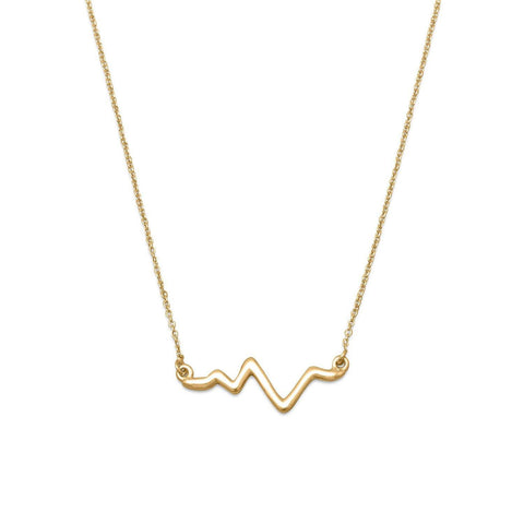 "18"" 14 Karat Gold Plated Heartbeat Necklace"