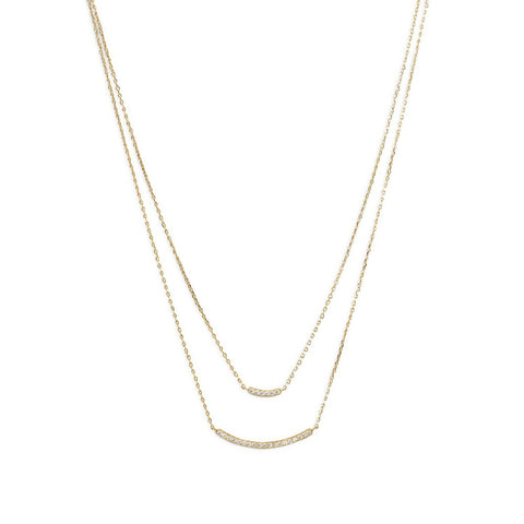 14 Karat Gold Plated CZ Double Bar Necklace