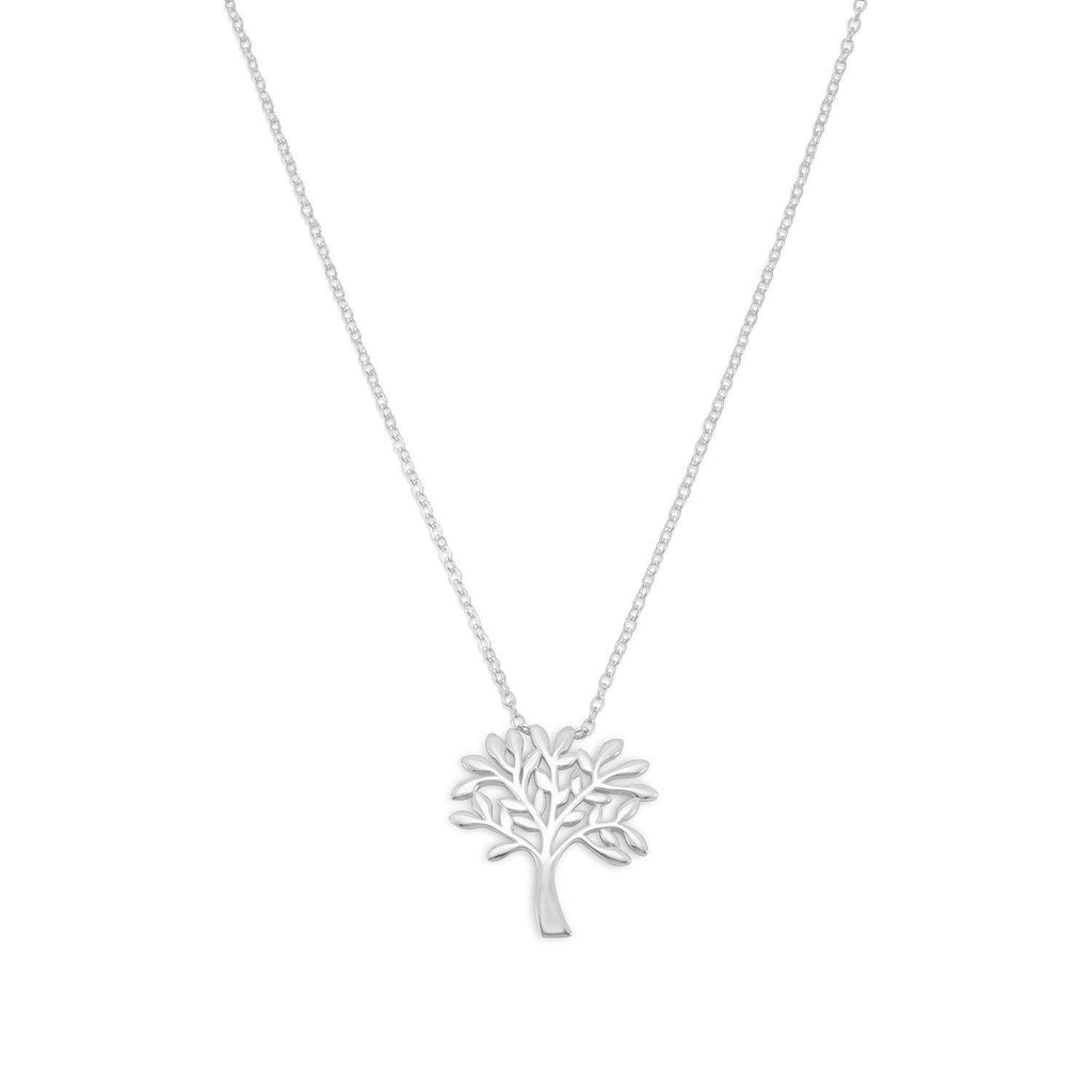Rhodium Plated Tree of Life Necklace