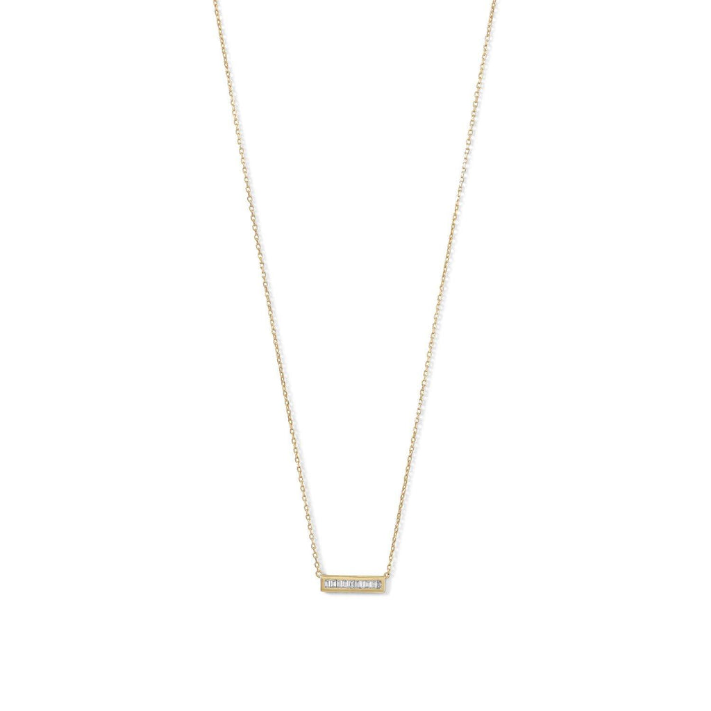 CZ Bar Gold Necklace