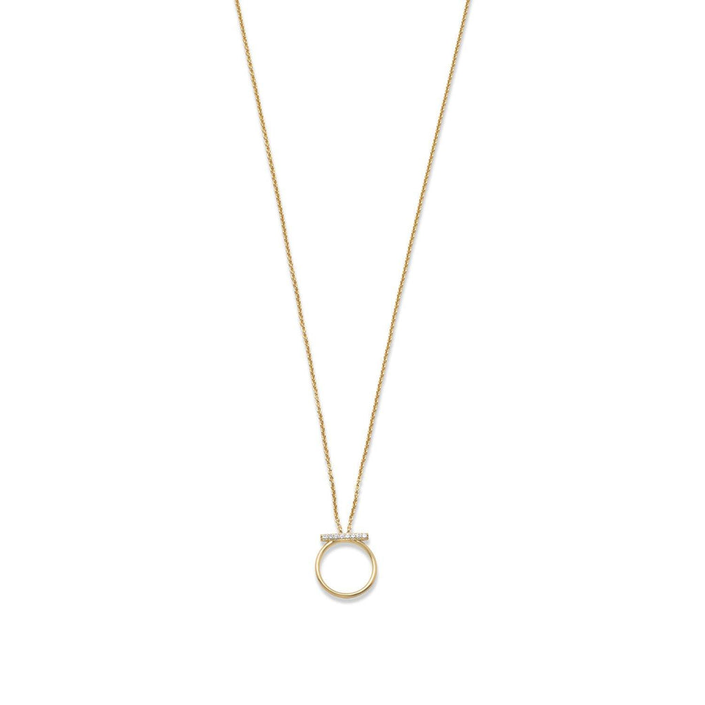 Circle & Bar Pavé Necklace