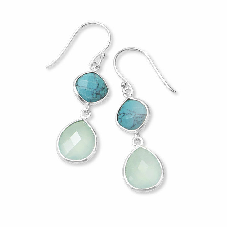 Turquoise and Chalcedony Earrings