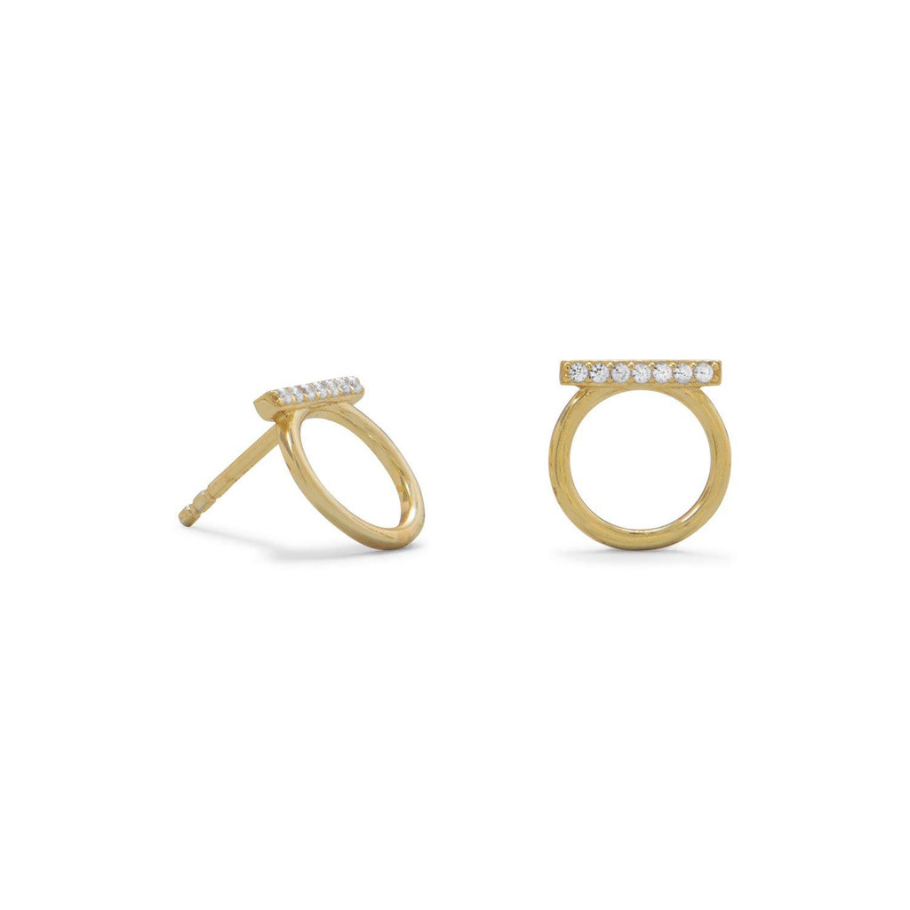 Circle & Bar Pave CZ Post Earrings
