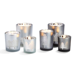 Silver Frosted Starry Night Candleholders