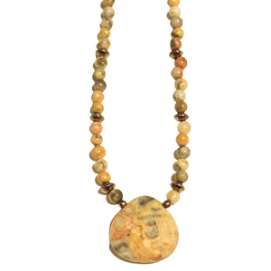 Agate Pendant & Bead Necklace