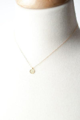 Tiny Gold Coin Focal Necklace