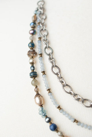 Multi Strand Pearl, Glass and Gemstone Necklace