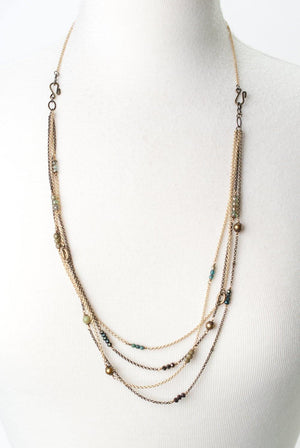 Multi Strand Chain with Pearls, Glass &  Stone Necklace - ALittleSomething