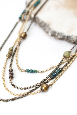 Multi Strand Chain with Pearls, Glass &  Stone Necklace