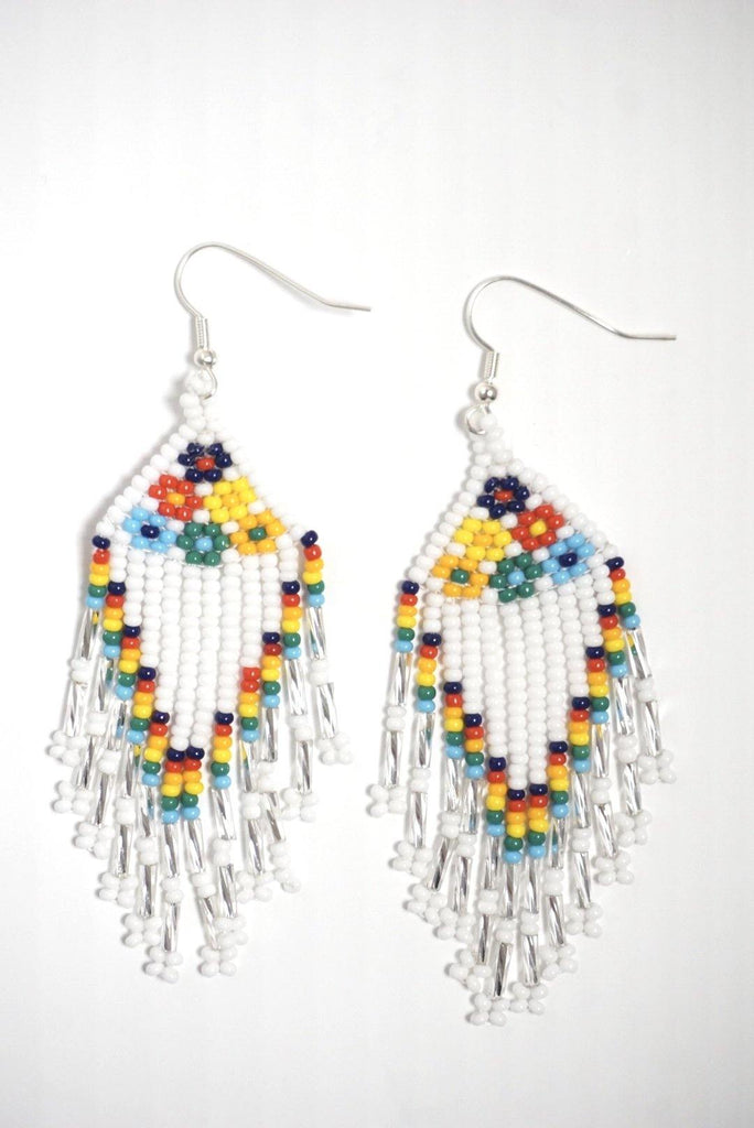 White & Colorful Beaded Earrings