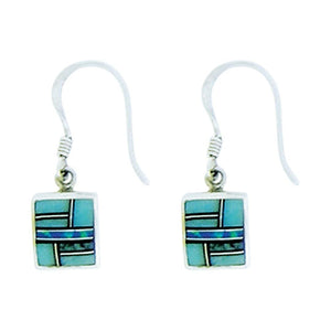 Inlay Square Turquoise & Lapis Sterling Earrings - ALittleSomething