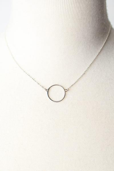 Sterling Silver Circle Focal Necklace