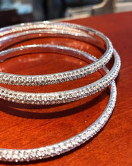 Bangle Bracelet  Crystal Domed Style