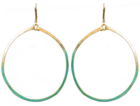 Circlet Brass and Verdigris Earrings
