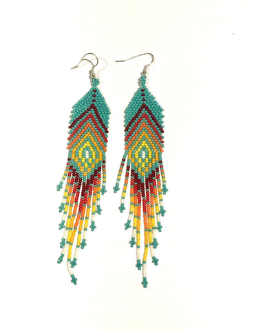 Turquoise and Colorful  Beaded Earrings