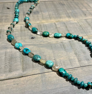 Turquoise & Quartz Bead Necklace