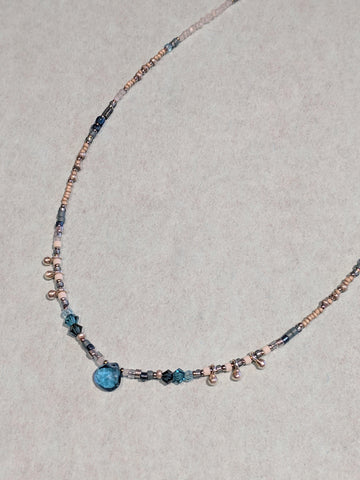 Appatite & Crystal Beaded Necklace