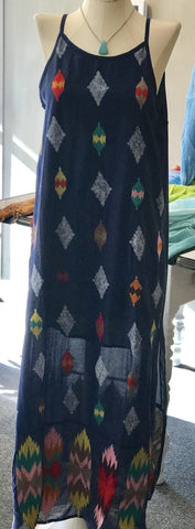 Embroidered Maxi Dress in Navy