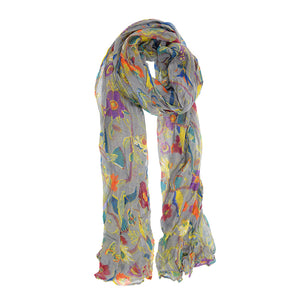 Bird in Garden Scarf (Grey)