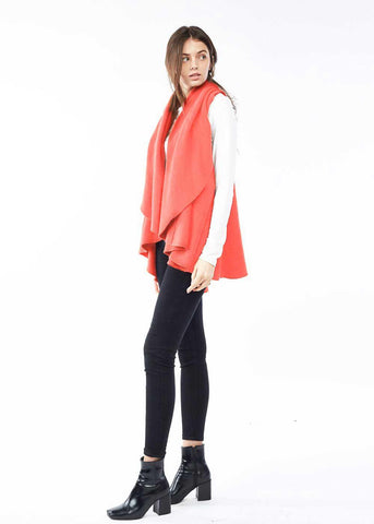 The Convertible Shawl Vest in Coral