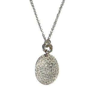 Sterling Speckled Texture Oval Drop Necklace