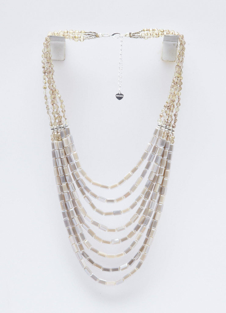 Elegant And All Natural Long Layer Necklace (Off White and Grey)