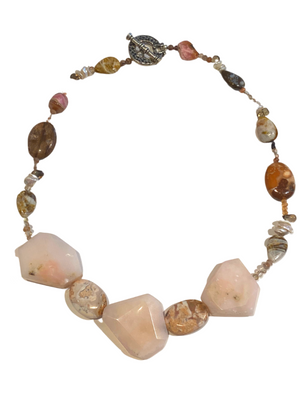 Jasper, Rose Quartz & Pearl Necklace