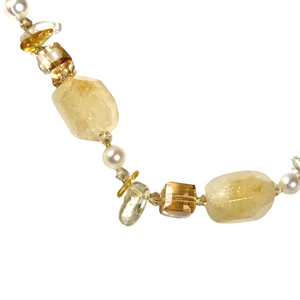 Pretty Citrine Natural Stone & Crystal Necklace