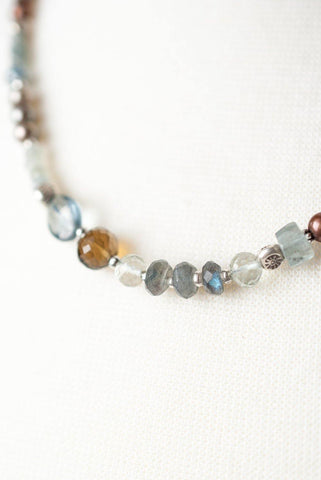 Short Beaded Collage Necklace